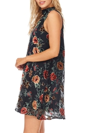 She + Sky Black Floral Velvet Dress - Front full body