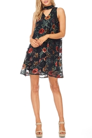 She + Sky Black Floral Velvet Dress - Front cropped