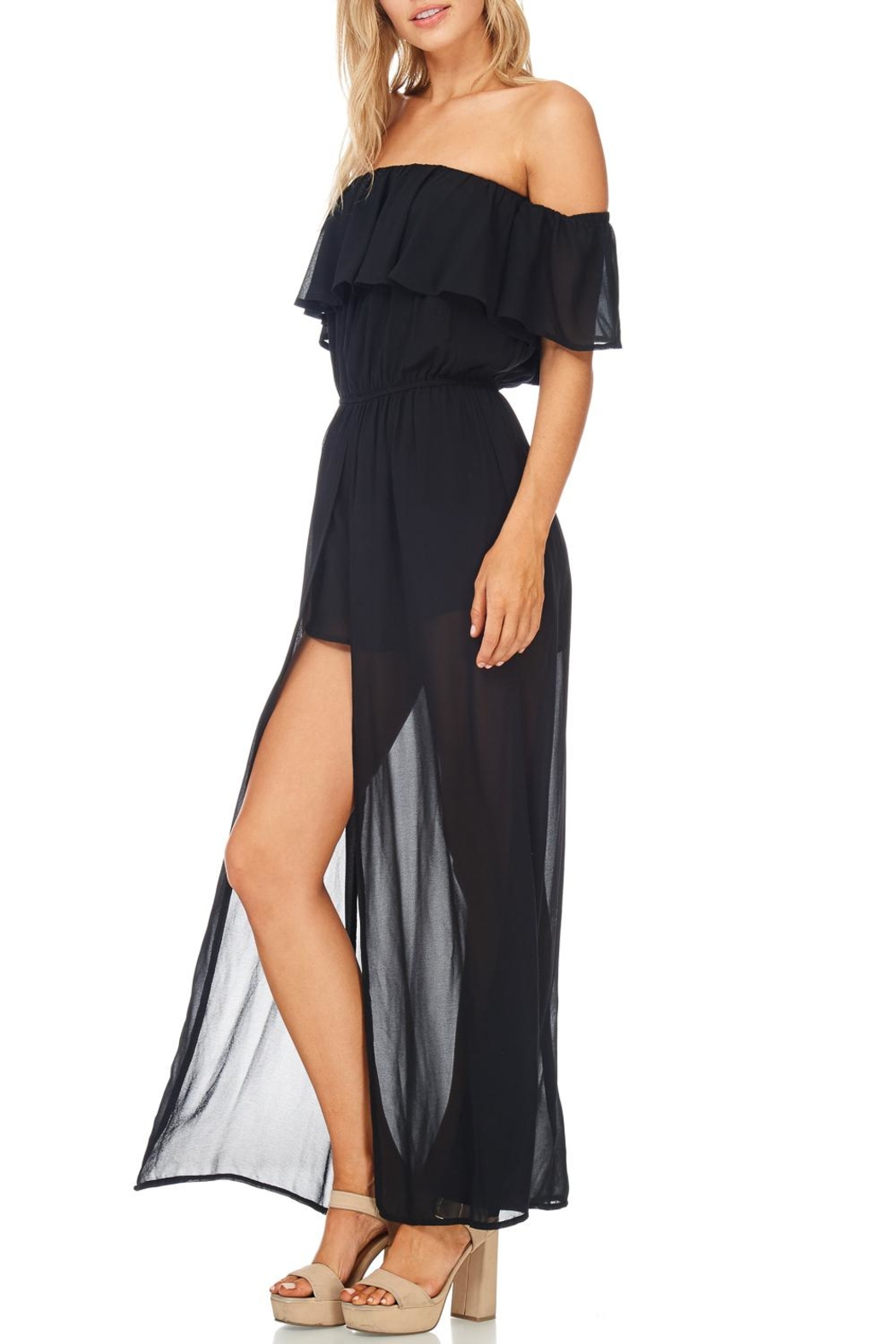 She + Sky Off Shoulder Maxi Romper - Back Cropped Image