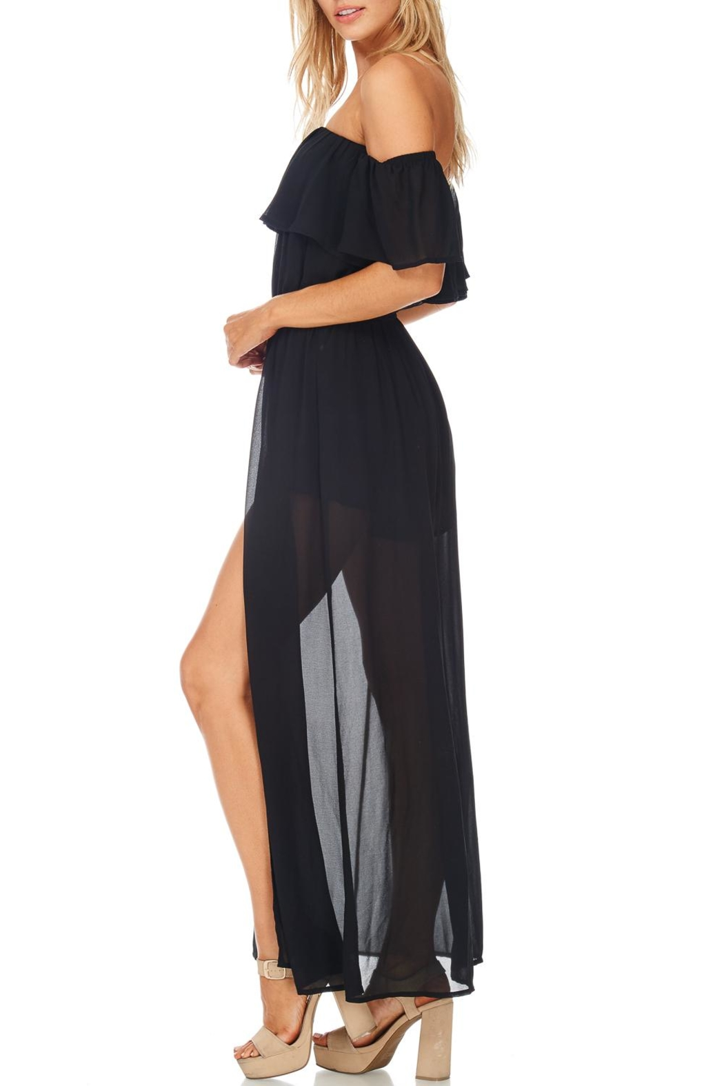 She + Sky Off Shoulder Maxi Romper - Front Full Image