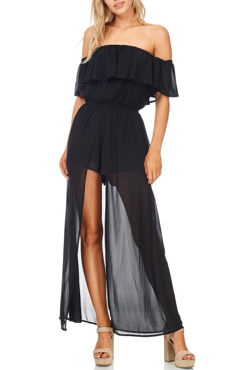 She + Sky Off Shoulder Maxi Romper - Front Cropped Image
