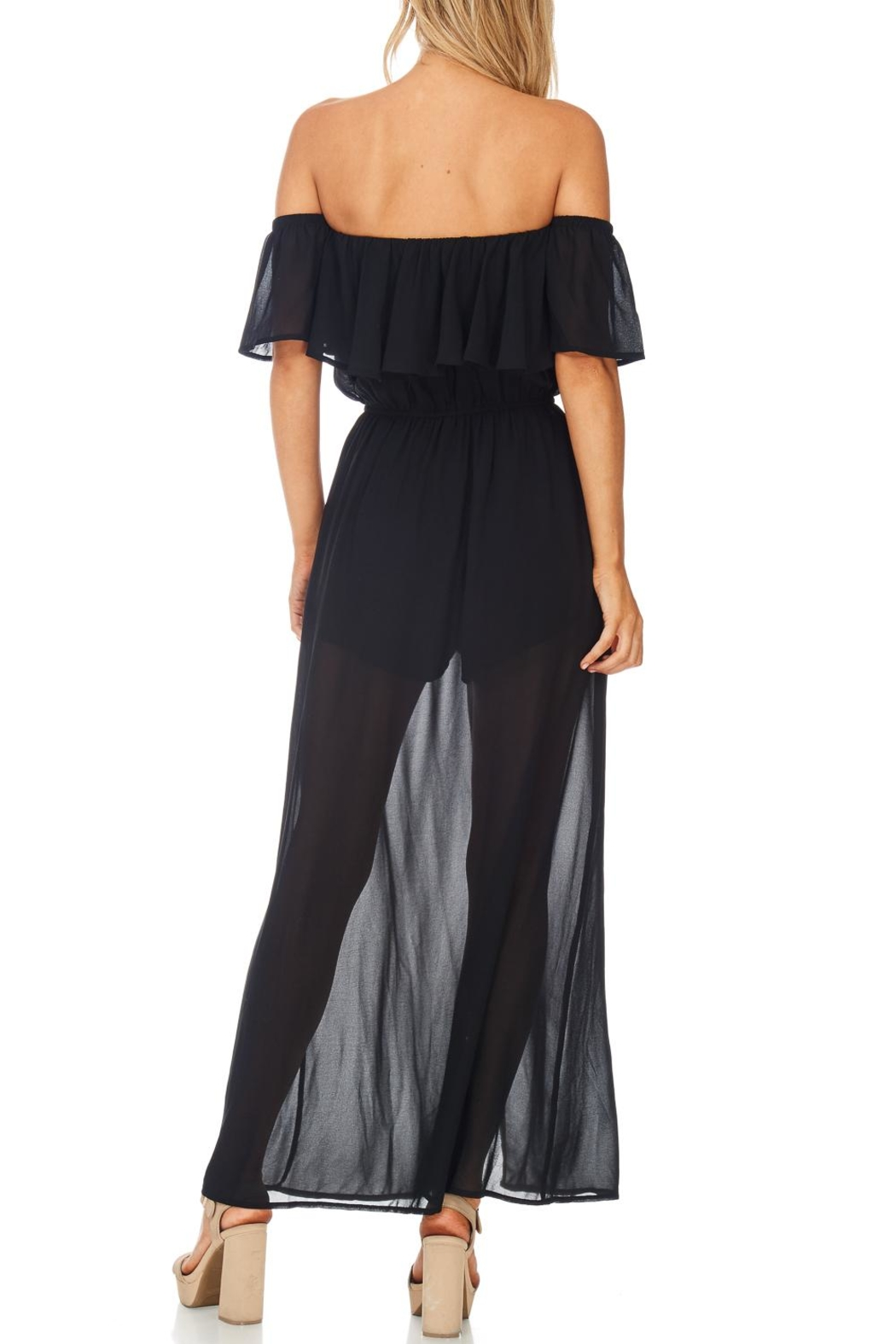 She + Sky Off Shoulder Maxi Romper - Side Cropped Image