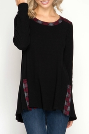 She + Sky Black Plaid Tunic - Front cropped