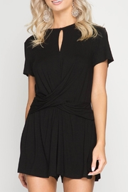 She + Sky Black Keyhole Romper - Product Mini Image