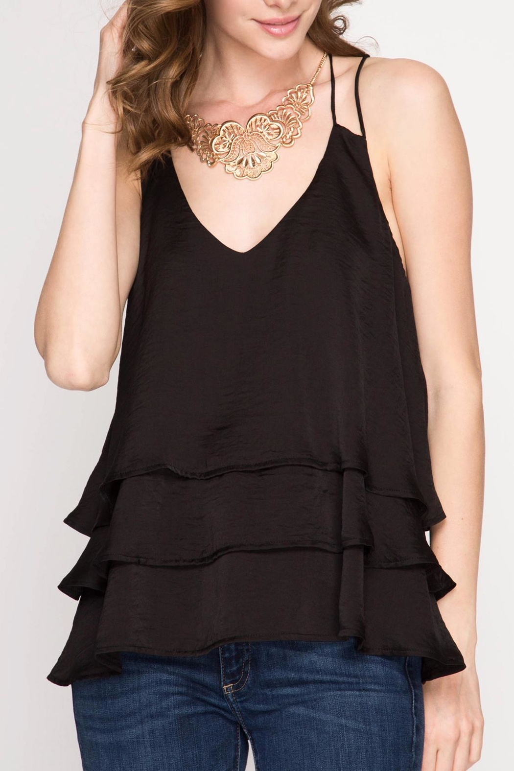 She + Sky Black Ruffle Top - Front Cropped Image