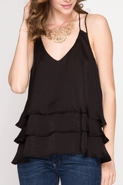 She + Sky Black Ruffle Top - Product Mini Image
