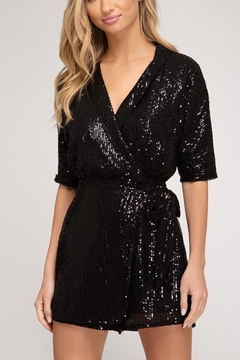 She + Sky Black Sequin Romper - Product List Image