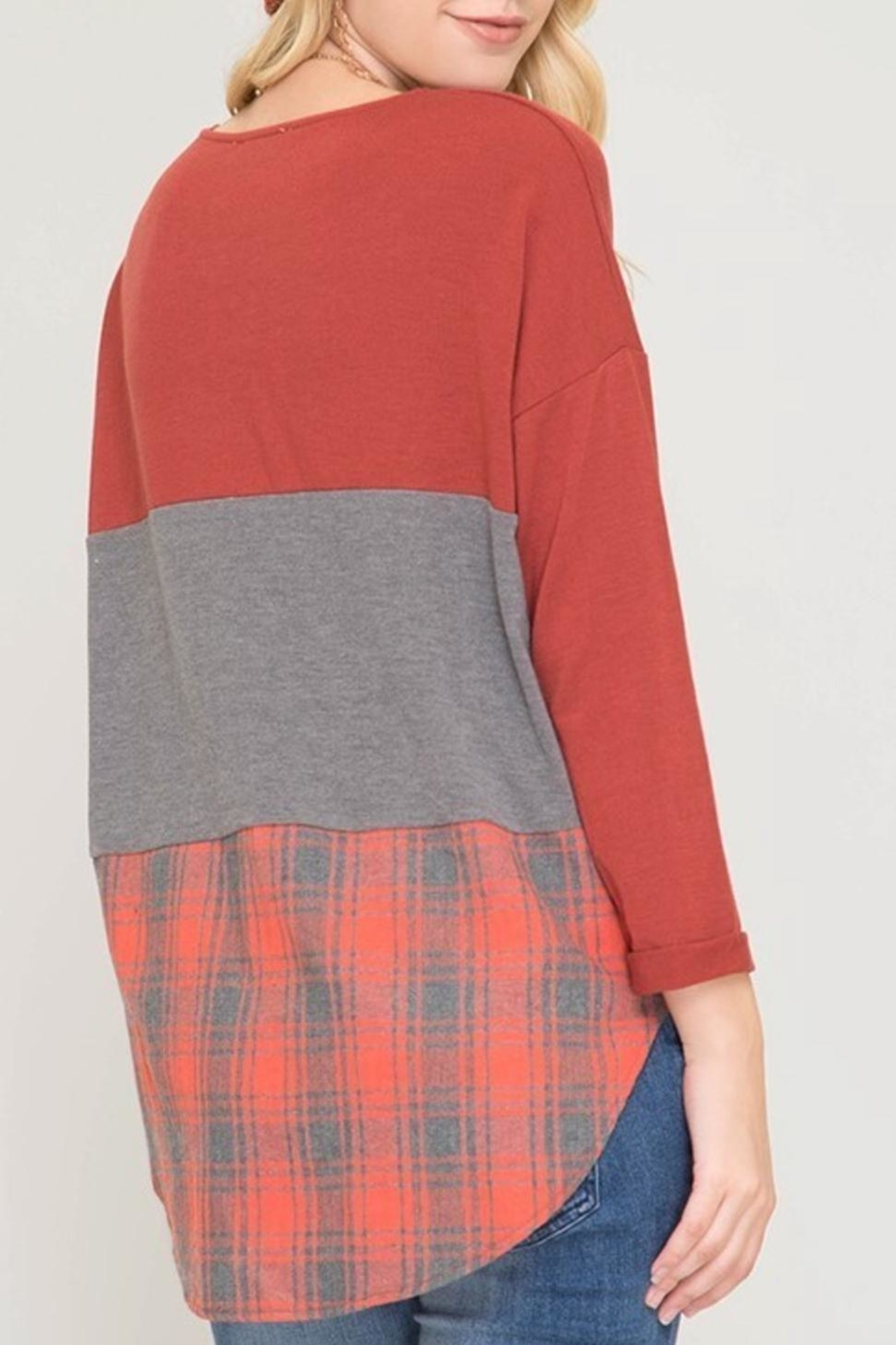 She + Sky Block And Plaid-Top - Front Full Image