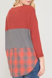 She + Sky Block And Plaid-Top - Front full body