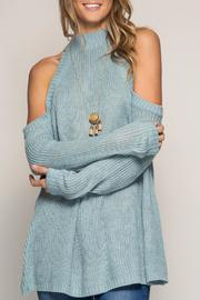 She + Sky Blue Cold Shoulder Sweater - Product Mini Image