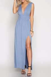 She + Sky Blue Maxi Dress - Front cropped