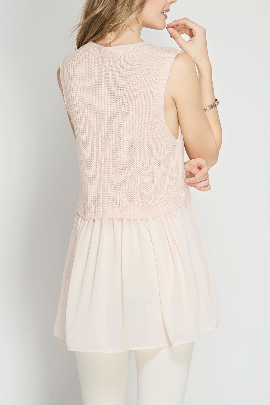 She + Sky Blush Sweater Tank Top - Front Full Image