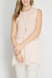 She + Sky Blush Sweater Tank Top - Front cropped