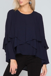 She + Sky Bodice Ruffle Top - Front cropped