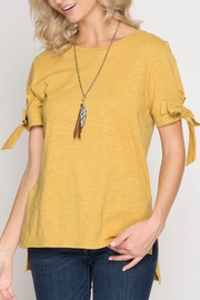 She + Sky Bow Sleeve Tee - Product Mini Image