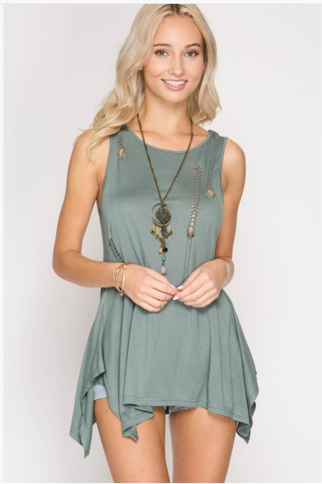 She + Sky Braided Cutout Tank - Front Cropped Image