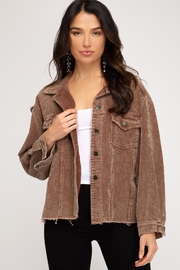 She + Sky Brown Corduroy Jacket - Product Mini Image
