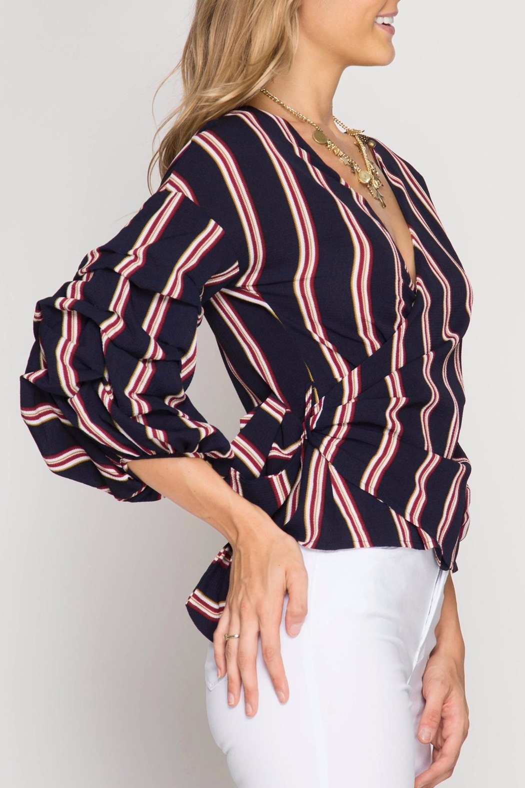 She + Sky Bubbled Up Wrap Blouse - Front Full Image