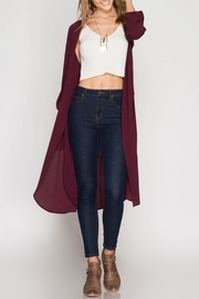 She + Sky Burgundy Duster - Product Mini Image