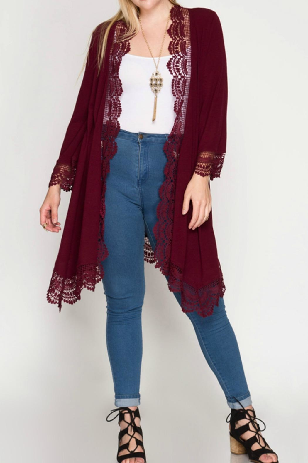 She   Sky Burgundy Lace Cardigan from Montana by Foxwood Boutique ...
