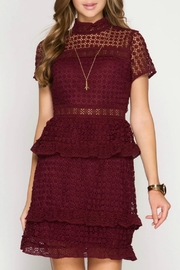 She + Sky Burgundy Lace Dress - Product Mini Image