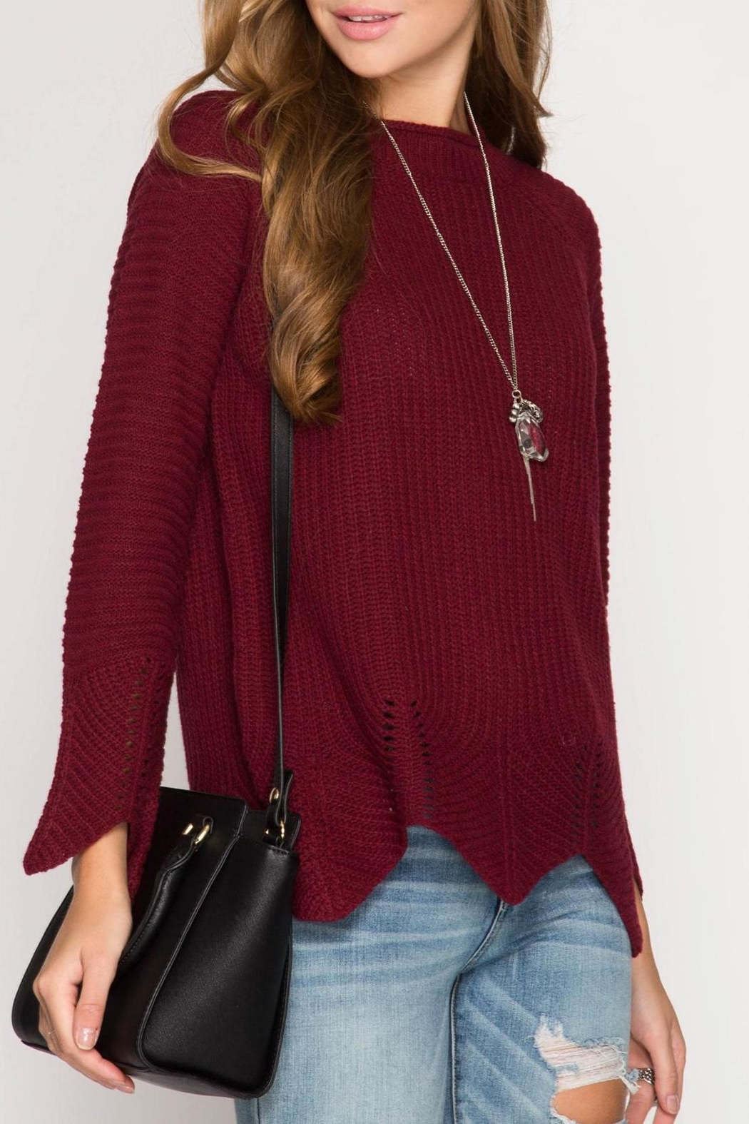 She + Sky Burgundy Scallop Sweater - Side Cropped Image