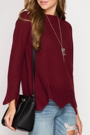 She + Sky Burgundy Scallop Sweater - Side cropped