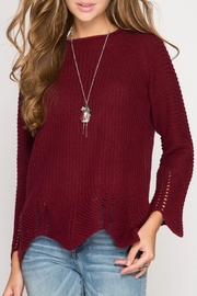 She + Sky Burgundy Scallop Sweater - Product Mini Image