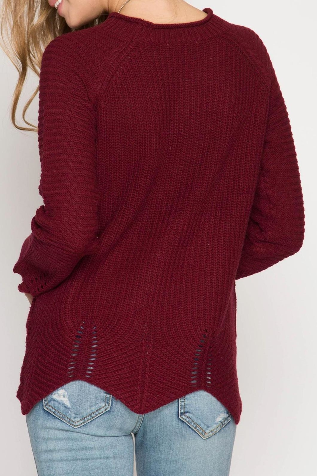 She + Sky Burgundy Scallop Sweater - Front Full Image
