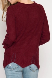 She + Sky Burgundy Scallop Sweater - Front full body