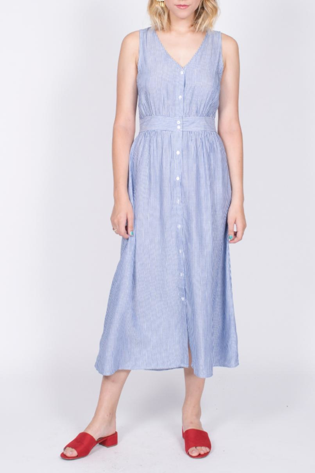 She + Sky Button Down Midi Dress - Front Cropped Image