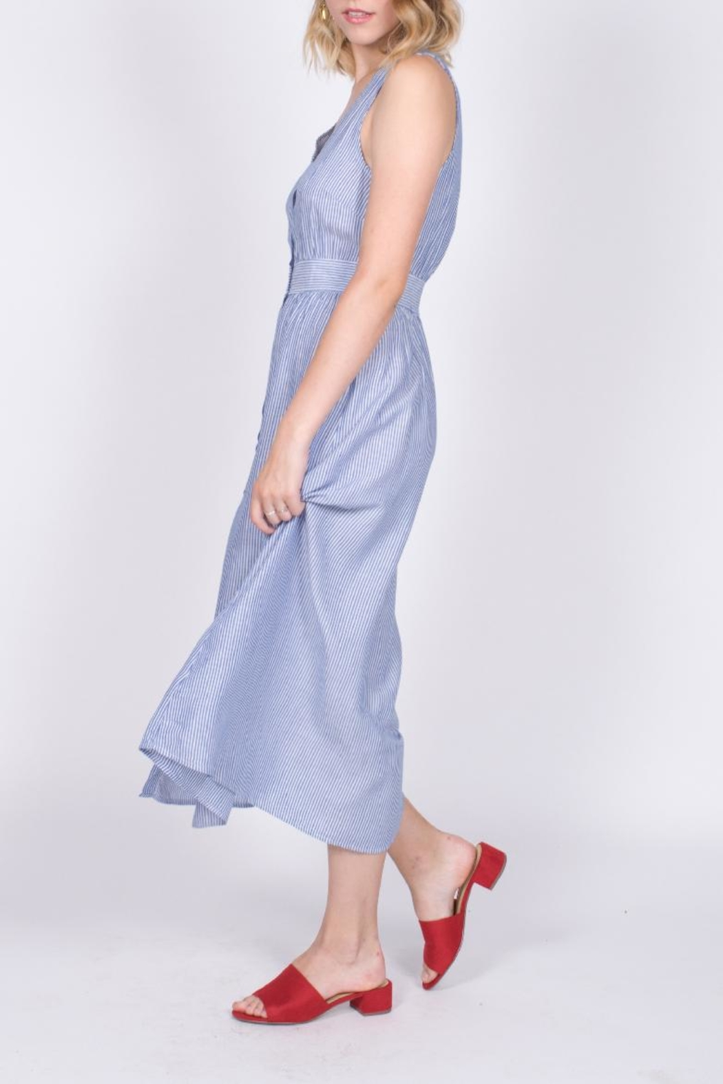 She + Sky Button Down Midi Dress - Front Full Image