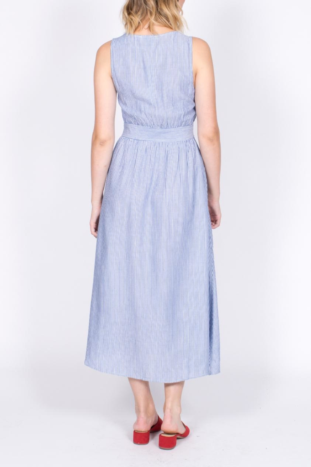 She + Sky Button Down Midi Dress - Back Cropped Image