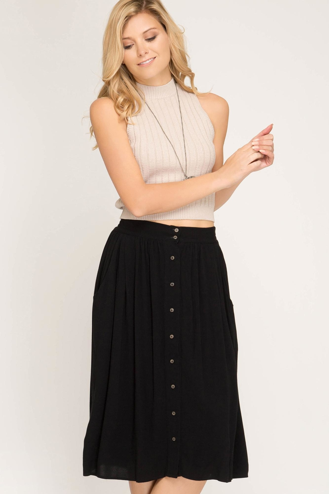 She + Sky Button Down Skirt - Main Image