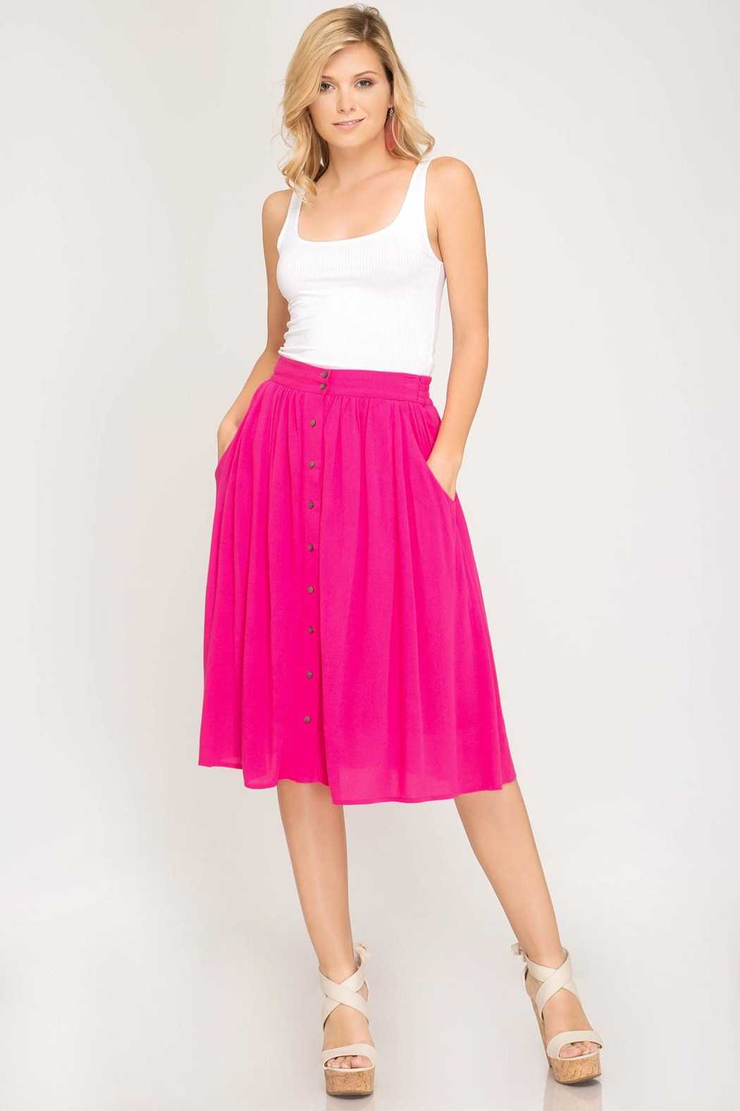 She + Sky Button Down Skirt - Front Cropped Image
