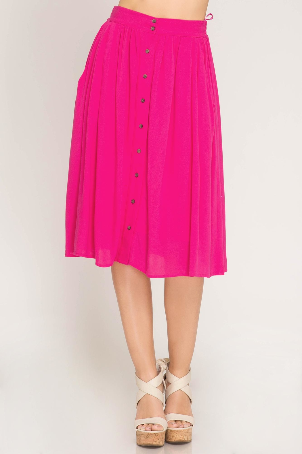 She + Sky Button Down Skirt - Back Cropped Image