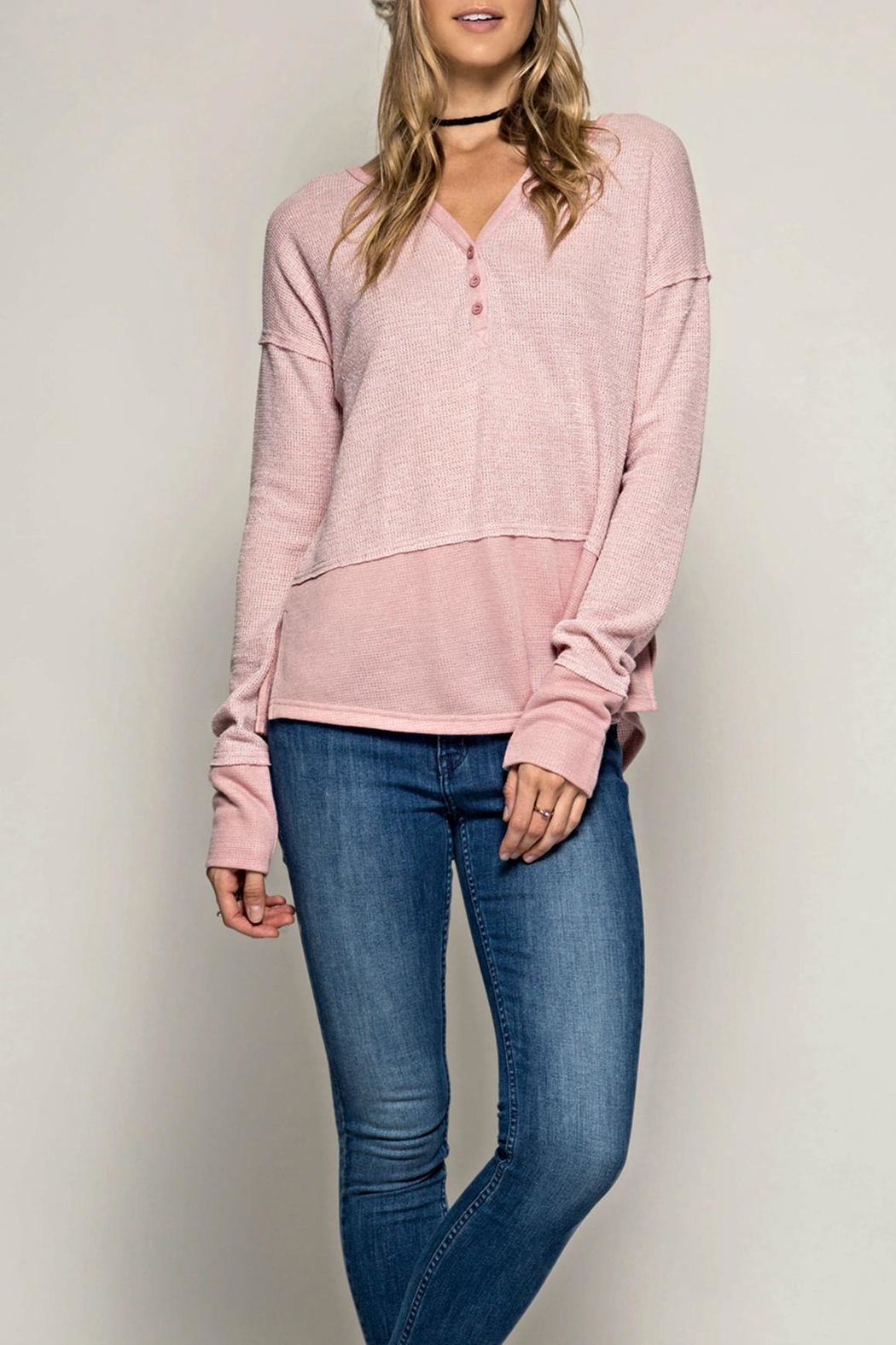 She + Sky Button Henley Top - Main Image