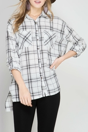She + Sky Button Plaid Shirt - Product Mini Image