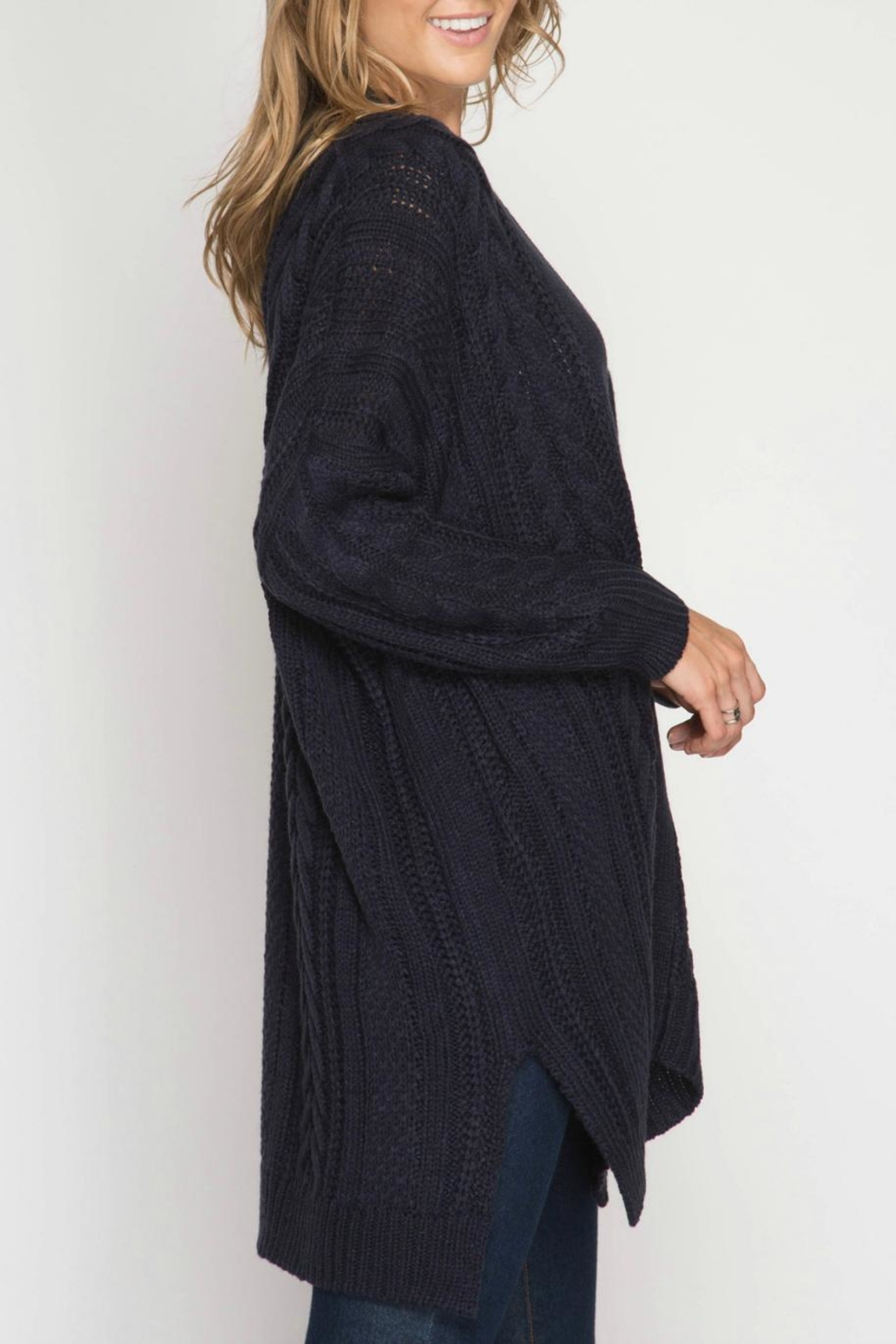 She + Sky Cable Knit Cardigan - Side Cropped Image