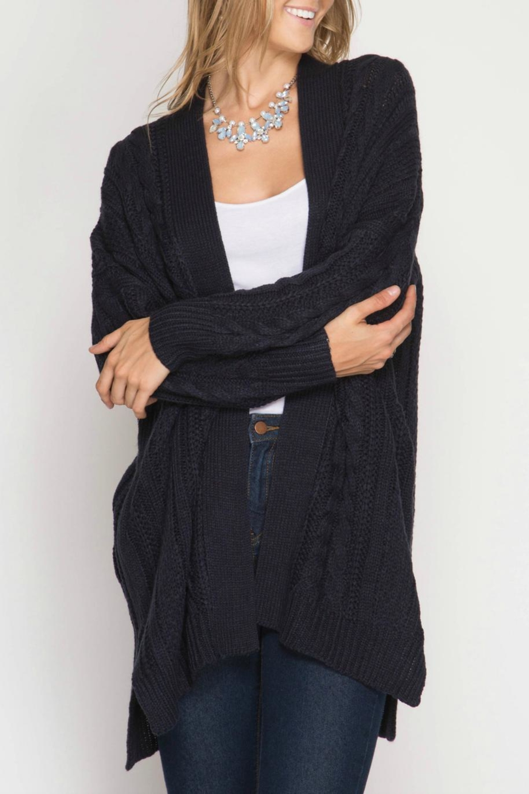 She + Sky Cable Knit Cardigan - Front Full Image