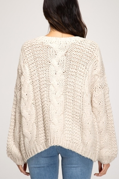 She + Sky Cable Knit Sweater - Alternate List Image