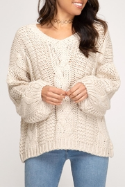 She + Sky Cable Knit Sweater - Product Mini Image
