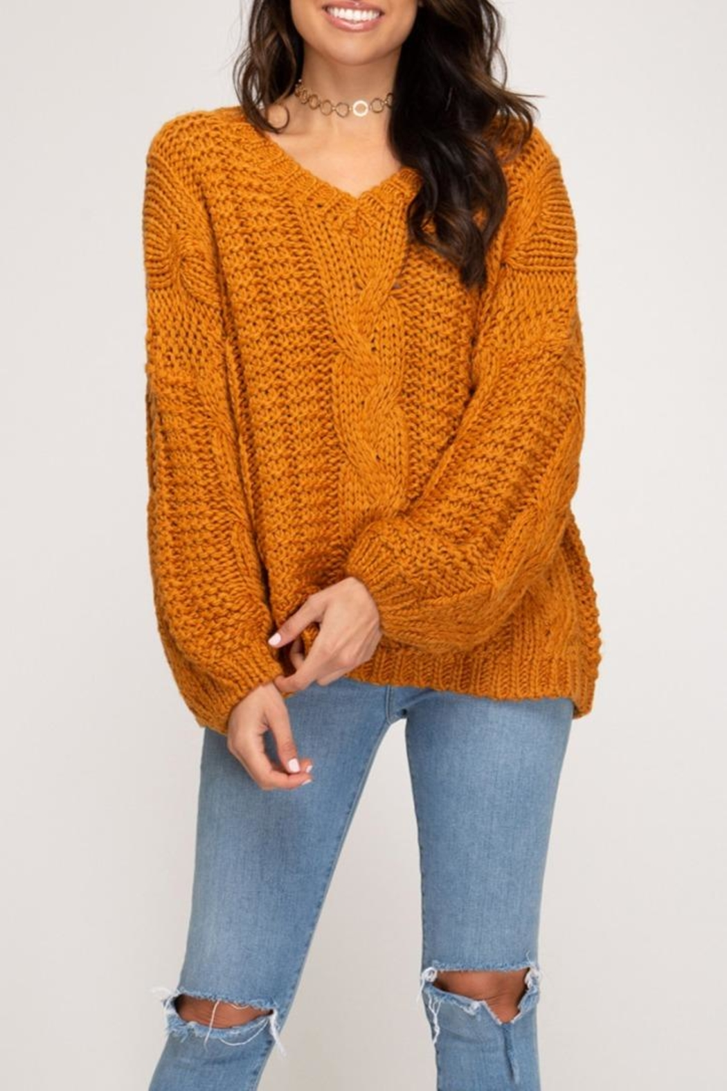 She + Sky Cable Knit Sweater - Main Image