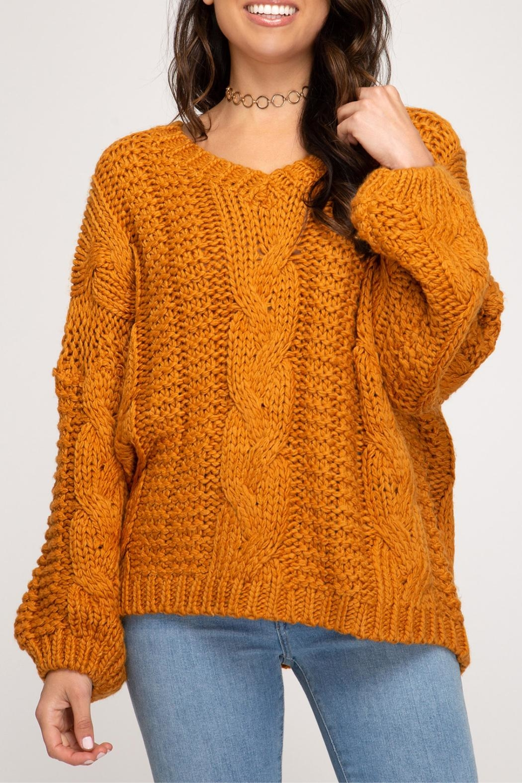 She + Sky Cable Knit Sweater - Side Cropped Image