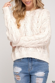 She + Sky Cable Knit Sweater - Front cropped