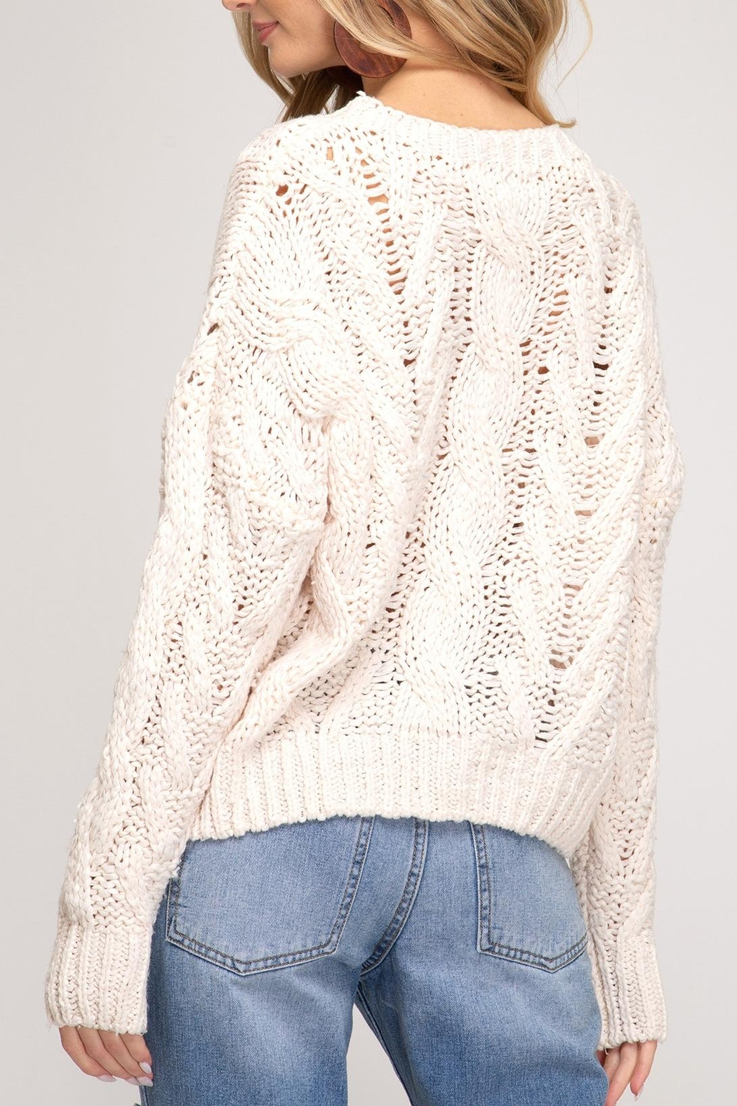 She + Sky Cable Knit Sweater - Front Full Image