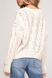 She + Sky Cable Knit Sweater - Front full body