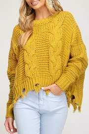 She + Sky Cableknit Distressed Sweater - Front cropped