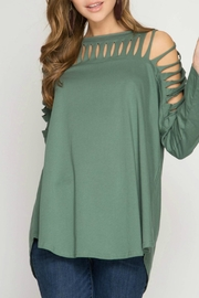 She + Sky Cactus Green Knit-Top - Front cropped