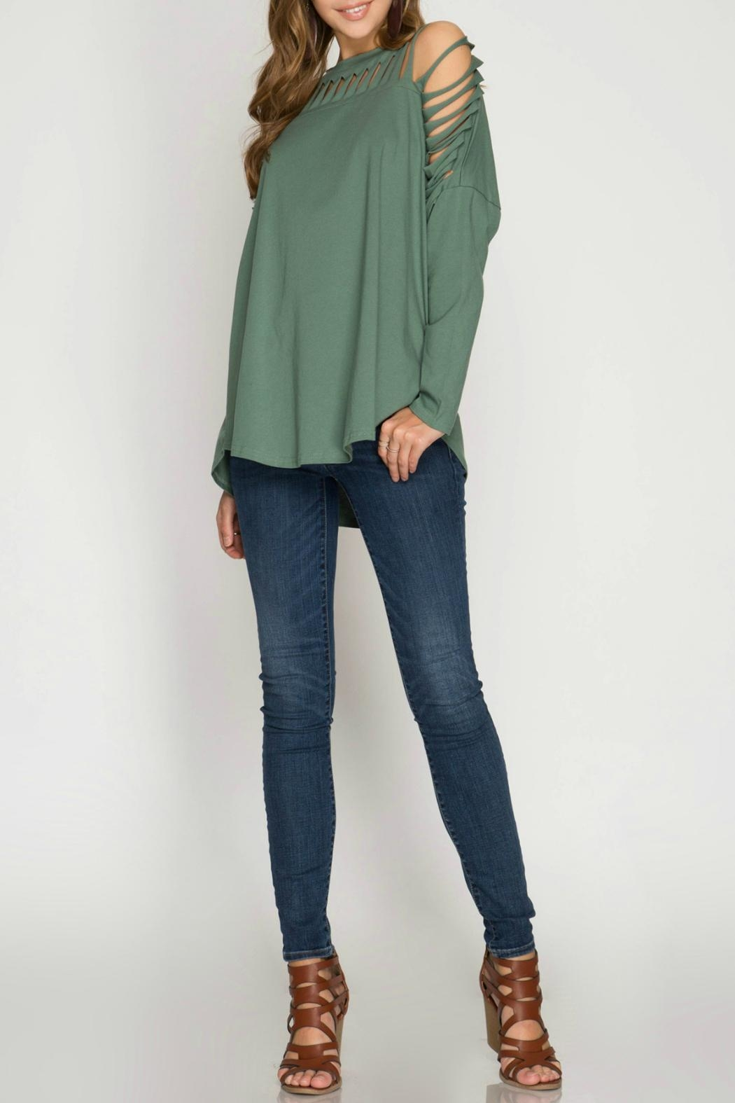 She + Sky Cactus Green Knit-Top - Side Cropped Image